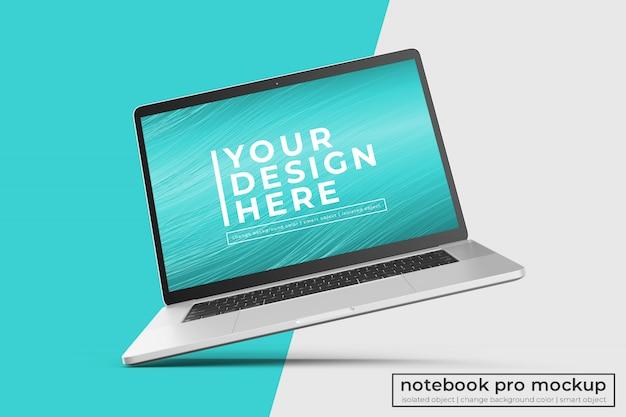 Design modificabile realistic premium laptop pro mockup in posizione inclinata a sinistra in vista centrale Psd Premium