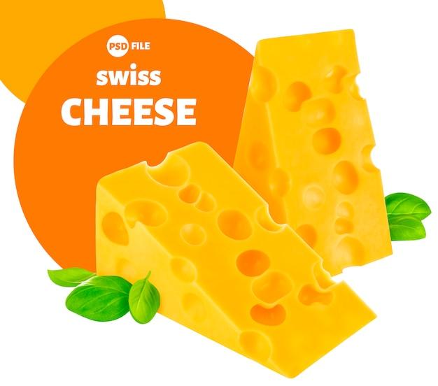Formaggio, pezzo di emmental svizzero isolato su bianco Psd Premium
