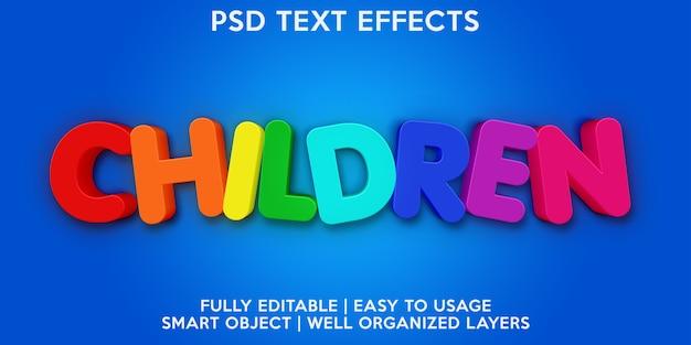 Effetto testo per bambini Psd Premium