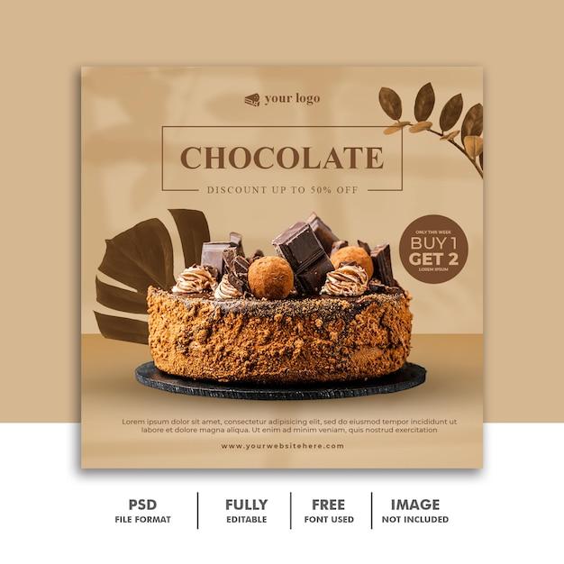 Modello di banner post instagram di social media per menu di torta al cioccolato Psd Premium