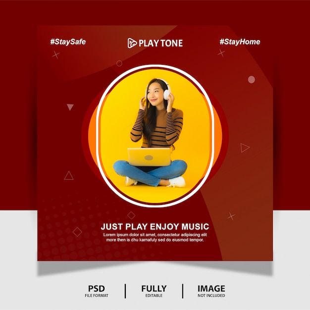 Chocolate color goditi la musica social media post banner Psd Premium