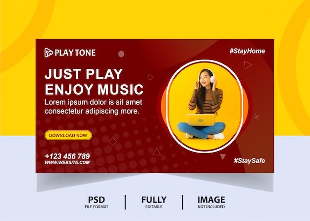 Color cioccolato goditi la musica banner web design Psd Premium