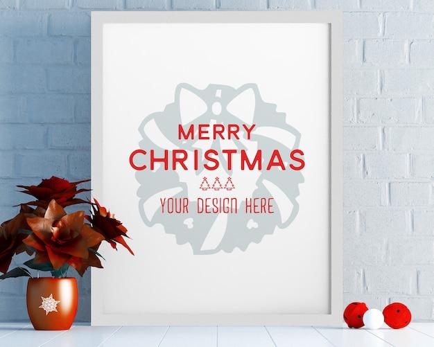 Decorazione natalizia con mockup di cornice Psd Premium