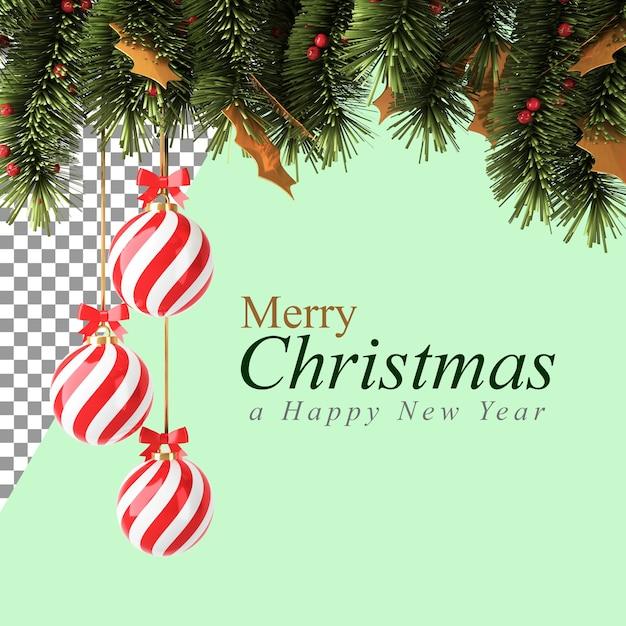 Decorazioni natalizie con la palla rossa e rami di pino nell'illustrazione 3d Psd Premium
