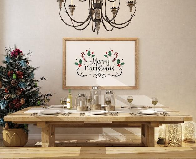 Sala da pranzo di natale con cornice per poster mockup e albero di natale Psd Premium