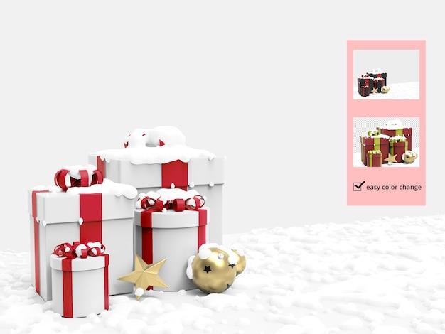 Confezione regalo di natale e neve con varie decorazioni mockup Psd Premium