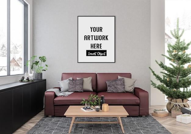 Interno di natale con mockup di cornice verticale Psd Premium