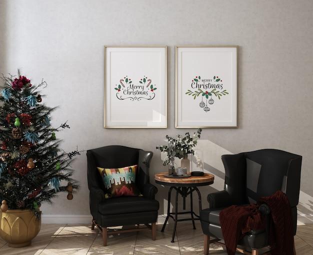 Soggiorno di natale con cornice per poster mockup e albero di natale Psd Premium