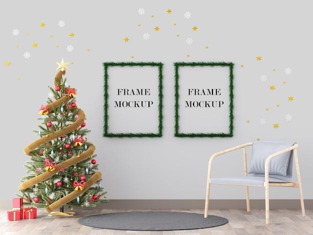 Cornici di natale accanto al modello di rendering 3d albero di capodanno Psd Premium