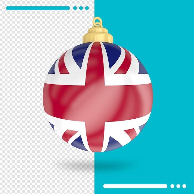 Natale regno unito bandiera 3d rendering isolato Psd Premium