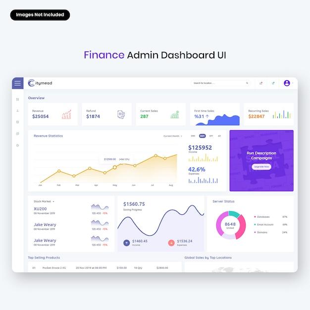 Interfaccia utente del pannello di amministrazione di citymead-finance Psd Premium