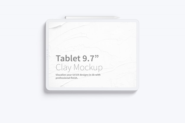 """Tablet clay pro 12.9 """"mockup, vista frontale orizzontale Psd Premium"""