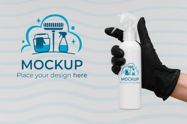 Prodotto per la pulizia con confezione mock-up Psd Premium