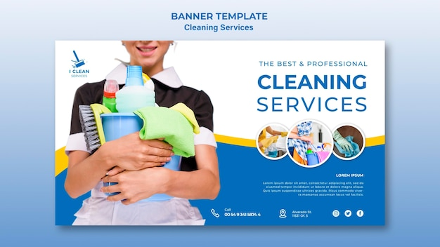 Modello dell'insegna di concetto di servizio di pulizia Psd Premium