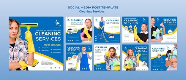 Modello della posta di media sociali di concetto di servizio di pulizia Psd Premium