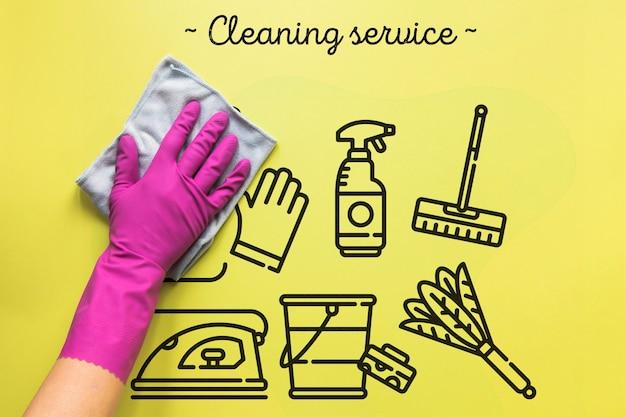 Servizio di pulizia sfondo giallo Psd Premium