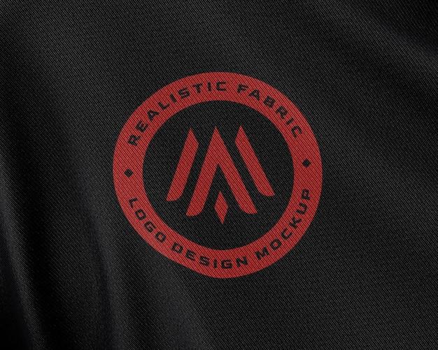 Primo piano sul tessuto in tessuto logo mockup Psd Premium