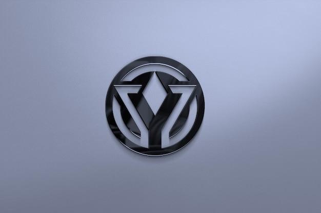 Primo piano sul mockup del logo di vetro su una superficie vuota Psd Premium