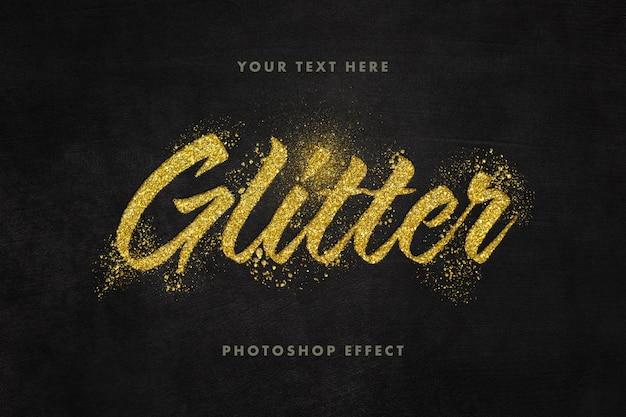 Primo piano sul modello di effetto di testo glitter dorato Psd Premium