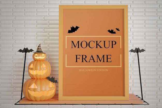 Close up mockup di cornice edizione halloween sul tavolo a muro Psd Premium