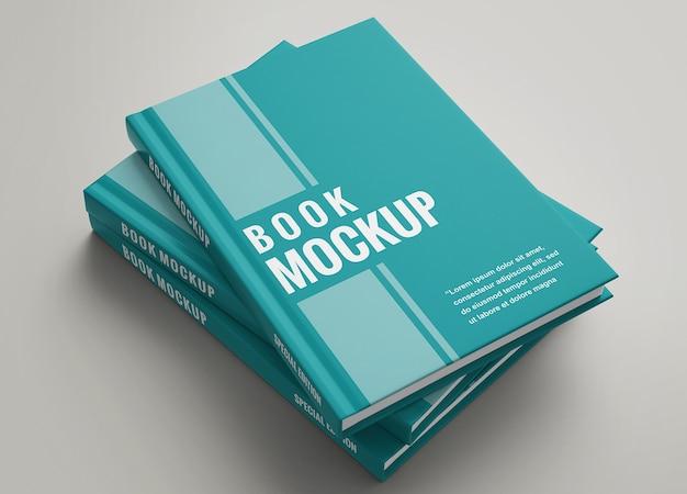 Primo piano sul mockup del set di libri con copertina rigida Psd Premium