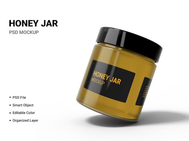 Primo piano su miele jar mockup isolato Psd Premium