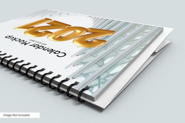 Close up paesaggio scrivania calendario mockup isolato Psd Premium