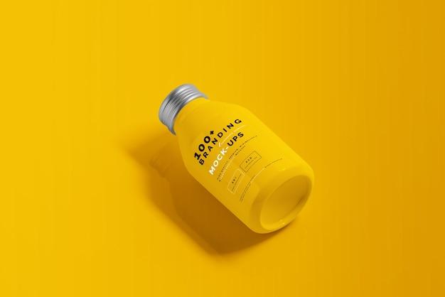 Primo piano sulla confezione del mockup di bottiglia per bevande in alluminio Psd Premium