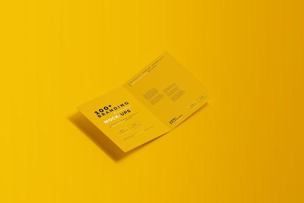 Primo piano sulla confezione di bi fold brochure mockup Psd Premium