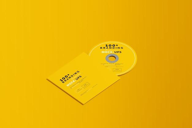 Primo piano sulla confezione del disco cd e del manicotto mockup Psd Premium