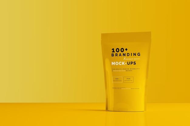 Primo piano sulla confezione di doypack standup pouch mockup Psd Premium