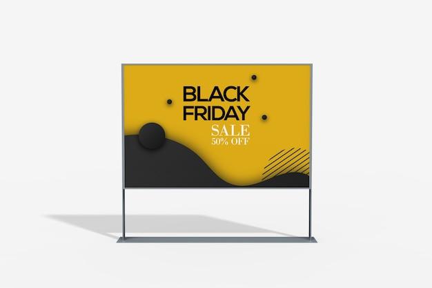 Vista ravvicinata del mockup di stand pubblicitario Psd Premium