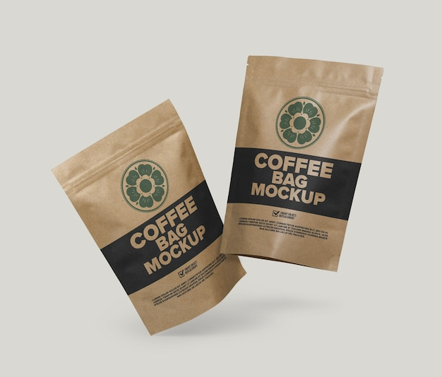 Mockup di sacchetto di caffè isolato Psd Premium
