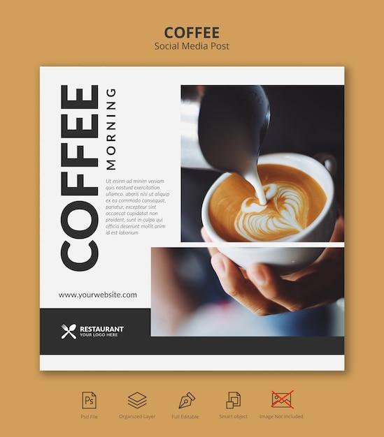 Modello della posta del instagram di media sociali dell'insegna del caffè Psd Premium
