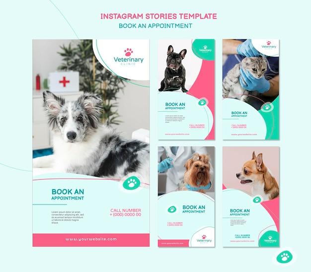 Raccolta di storie di instagram per appuntamento veterinario Psd Premium
