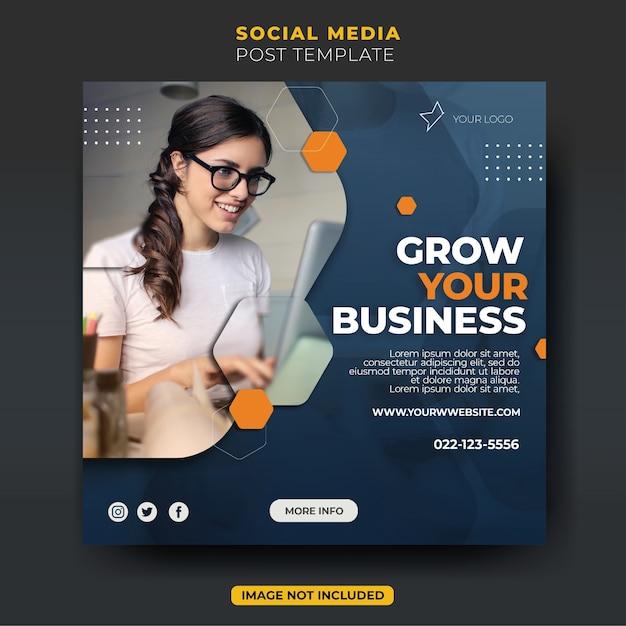 Modello di feed post instagram dell'agenzia creativa di affari di lavoro elegante colorato divertente Psd Premium