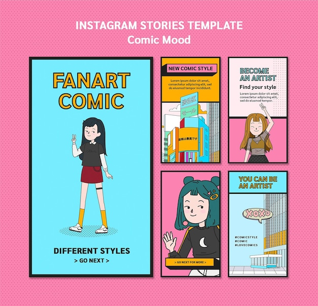 Modello di storie di instagram di design comico Psd Premium
