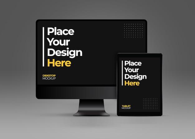 Mockup di computer desktop e tablet Psd Premium