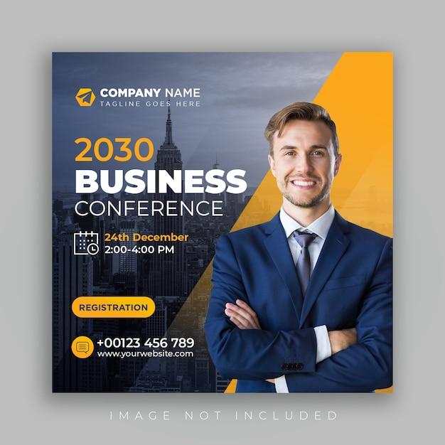 Conferenza social media post marketing banner sociale aziendale e volantino quadrato Psd Premium