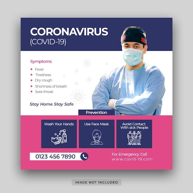 Corona virus malattia covid-19 fuori rottura e pandemia rischio medico salute elementi infographic prevenzione banner per social media modello di post psd premium psd Psd Premium
