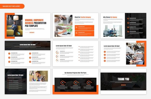 Progettazione del modello di cursore di presentazione aziendale aziendale Psd Premium