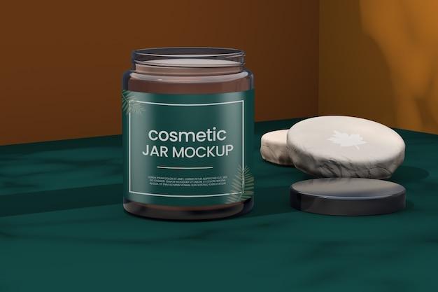 Mockup di barattolo cosmetico con logo mockup Psd Premium