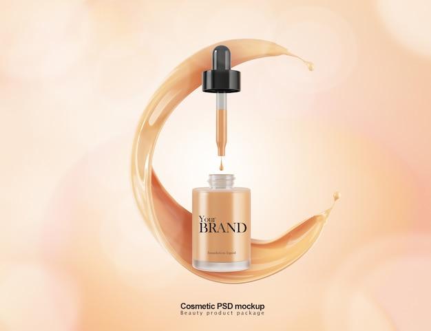 Progettazione del pacchetto modello di fondotinta liquido cosmetico. Psd Premium