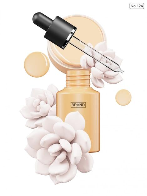 Prodotto cosmetico e fiore bianco su bianco Psd Premium