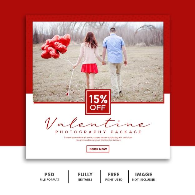 Sconto bianco rosso di instagram di media banner post media instagram delle coppie Psd Premium