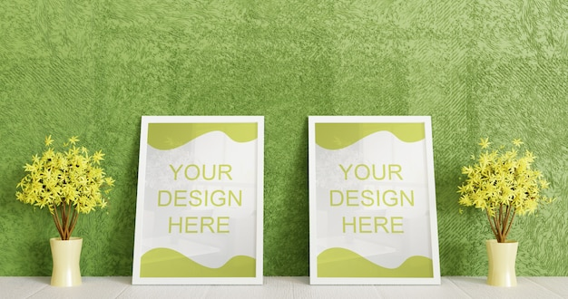 Coppia cornice bianca mockup in piedi sul pavimento bianco con coppia pianta decorativa. cornice orizzontale Psd Premium