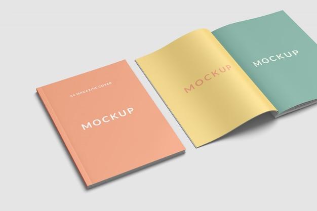 Cover and spread magazine mockup Psd Premium