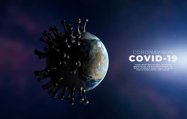 Covid-19, illustrazione medica di infezione da malattia di corona che mostra la struttura del virus dell'epidemia. Psd Premium