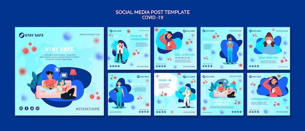 Modello di post sui social media covid-19 con illustrazione Psd Premium