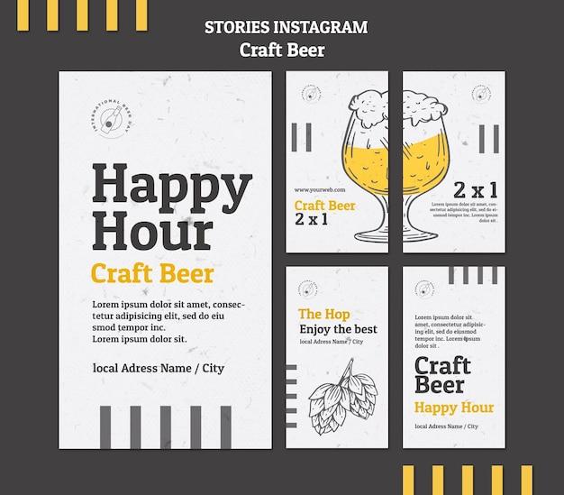 Storie di instagram di happy hour con birra artigianale Psd Premium